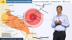 ⚠Weather Update: Severe tropical cyclone Debbie, 27 March 2017 - evening update