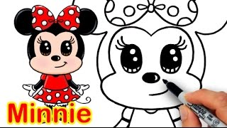 How to Draw Disney Minnie Mouse Cute step by step Easy