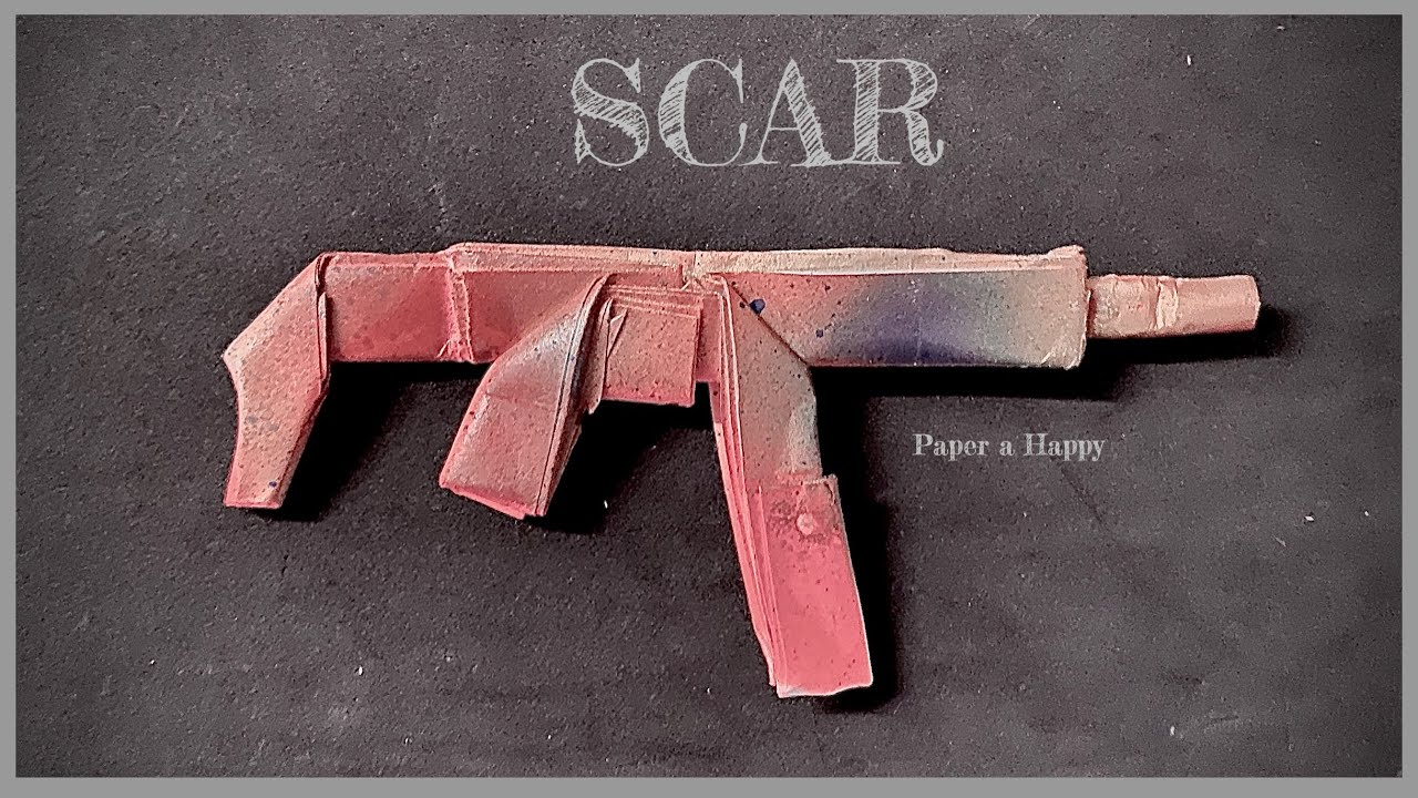 สอนพับปืนกระดาษ ปืนสการ์ | สอนพับโมเดลปืนกระดาษสการ์ | How to make a paper gun scar | origami gun