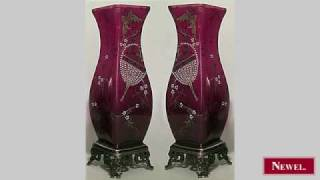 Antique Pair of French Victorian ruby glass and enamel
