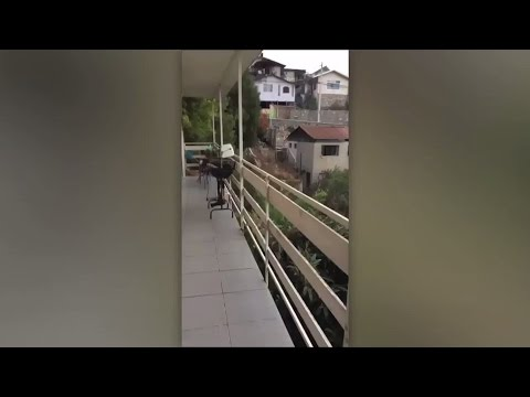 House SHAKES violently during Chile earthquake, caught on cam
