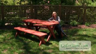 Select Pine Heavy Duty Cross-Legged Picnic Table with Detached Benches from CedarStore.com