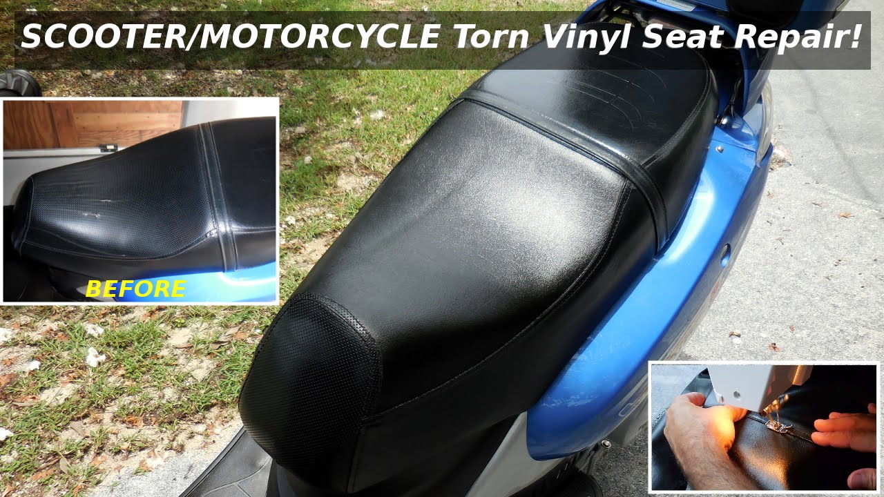 Torn Motorcycle Scooter Seat Repair Vinyl Youtube