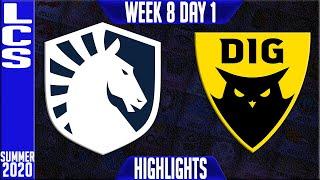 TL vs DIG Highlights | LCS Summer 2020 W8D1 | Team Liquid vs Dignitas