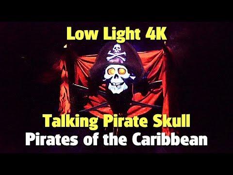 Low Light 4K Talking Pirate Skull on Pirates of the Caribbean | Magic Kingdom