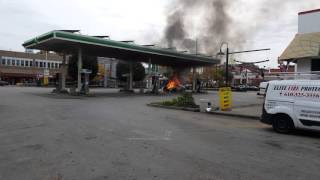 Police car catches fire at gas station
