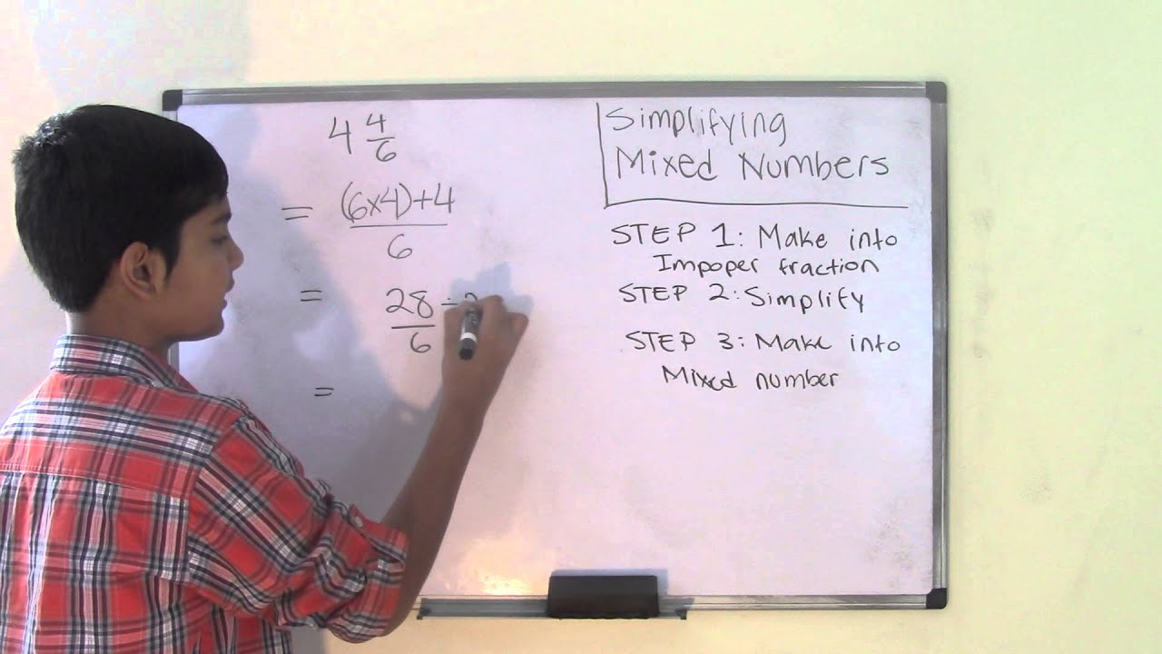 6th Grade Math Simplifying Mixed Numbers - YouTube