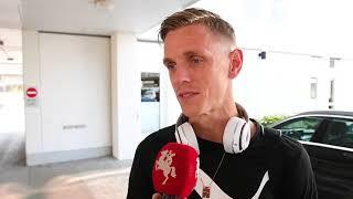 Malmö FF:s Sören Rieks efter ankomsten till Herning