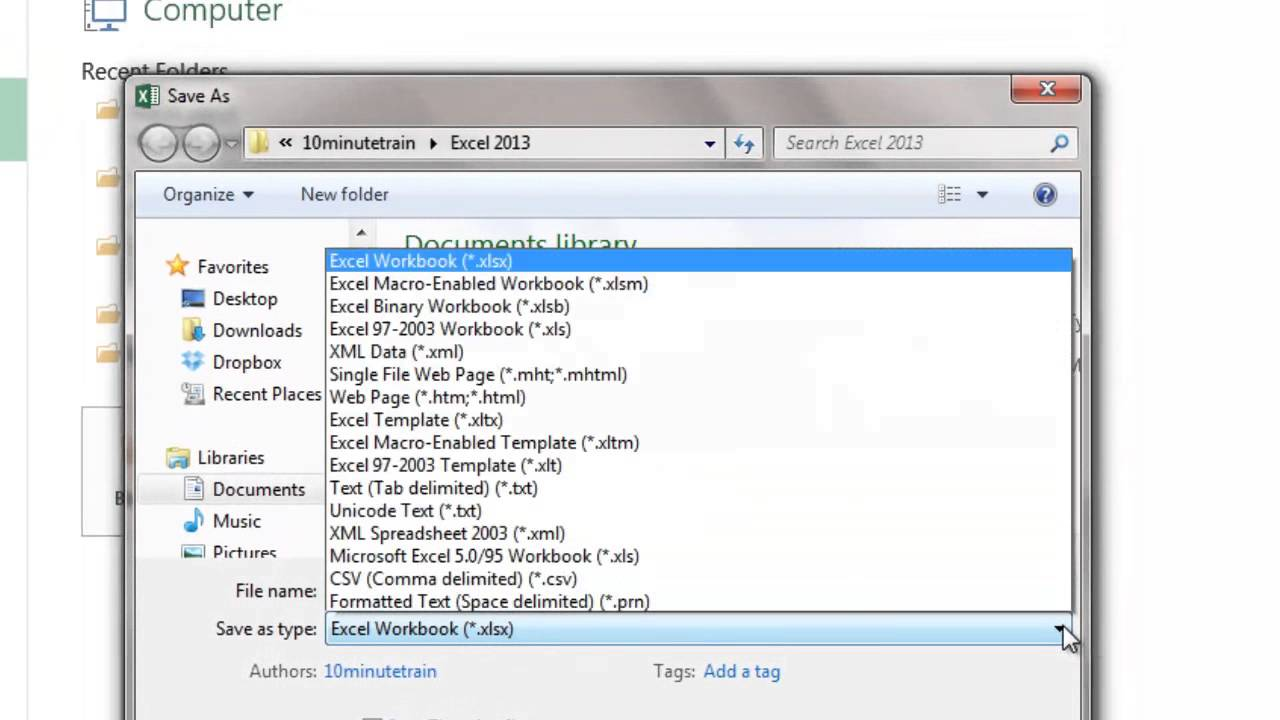 Workbooks excel workbook save : Excel 2013 Tutorial 3: Save options - YouTube