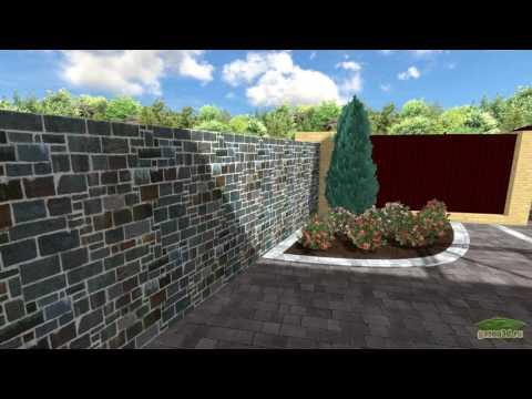 Ландшафтный дизайн участка 9 соток с крытым зимним бассейном, беседкой и баней