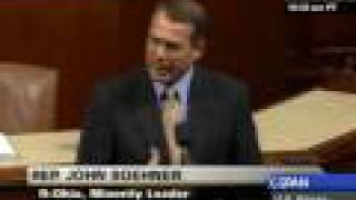 weepy, creepy john boehner denounces H.R.1 american recovery and reinvestment act of 2009