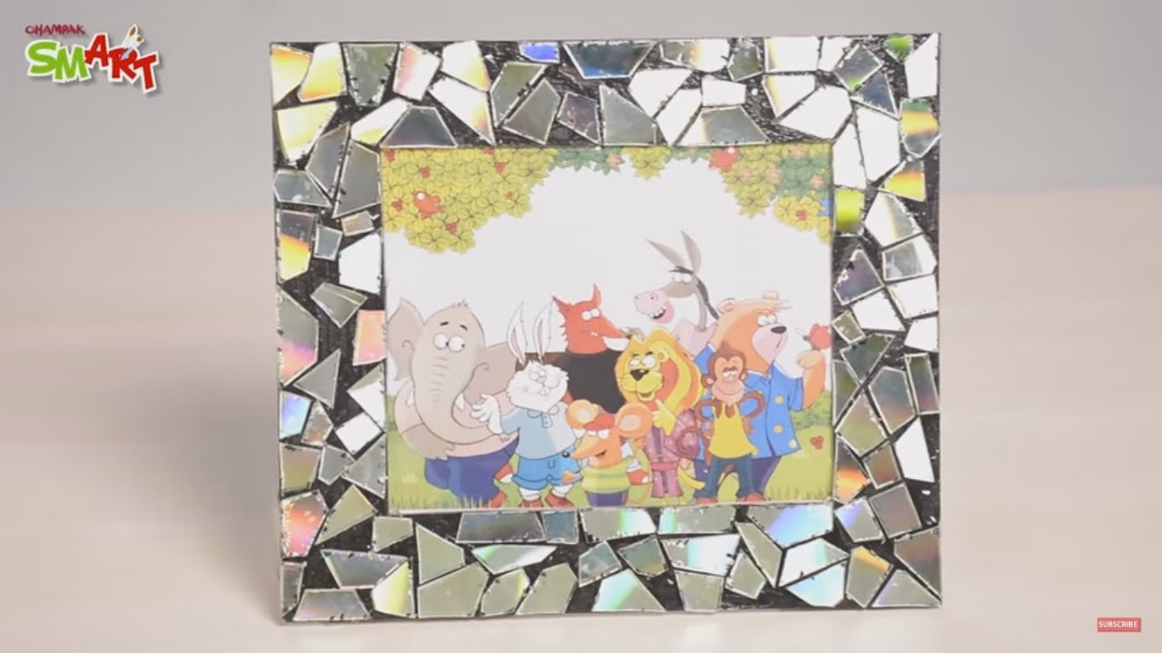How To Make A Mosaic Photo Frame With Cd Diy Art Amp Craft