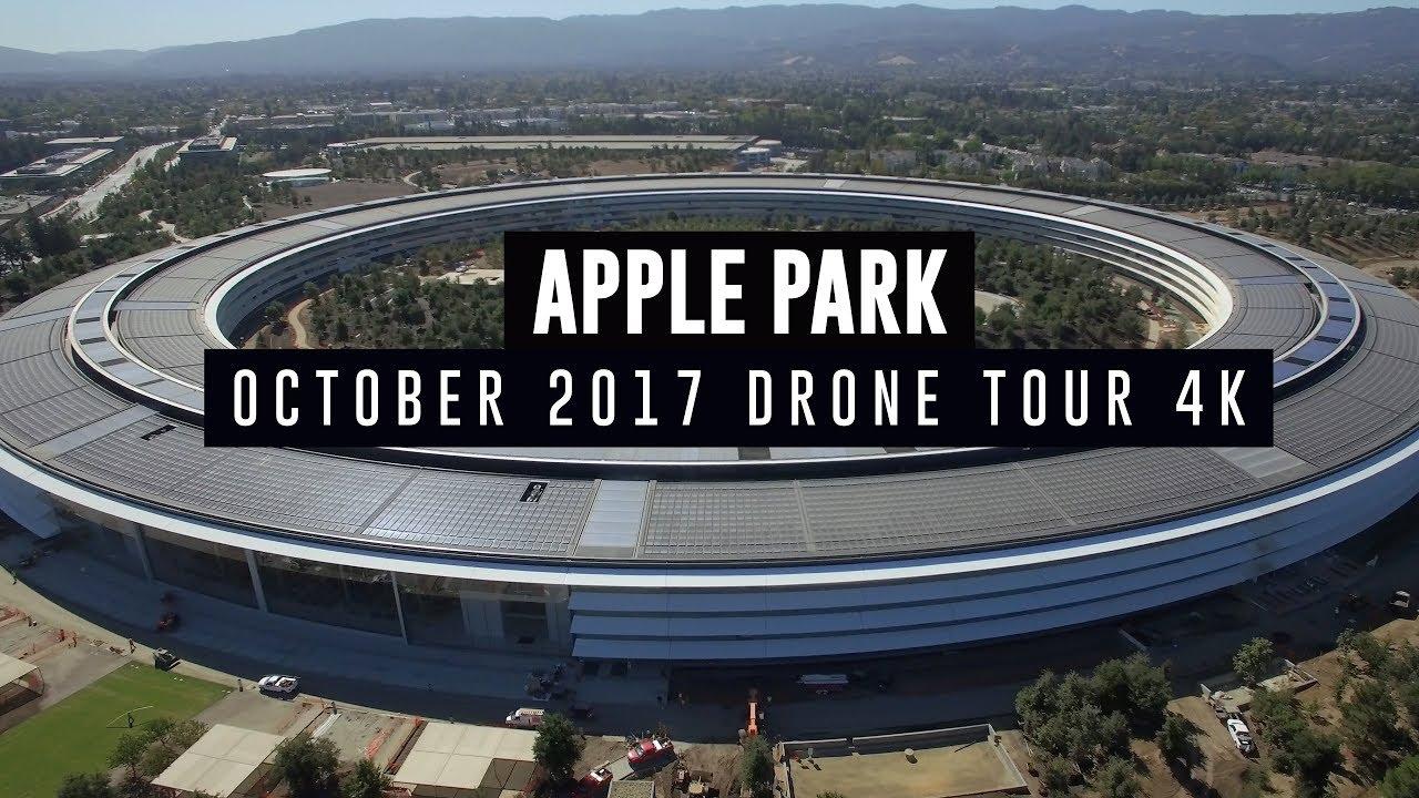 apple drone. APPLE PARK October 2017 Drone Tour 4K Apple