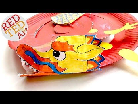Paper Plate Dragon Twirler DIY - including Paper Dragon Printable