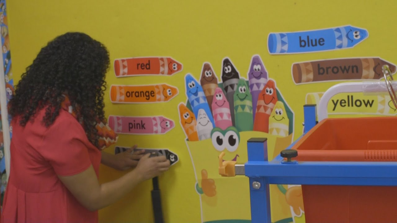 Kindergarten Classroom Decoration ~ Teachers prep classrooms for first day of classes youtube
