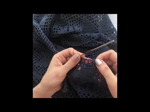 Обвязка края филейного платья