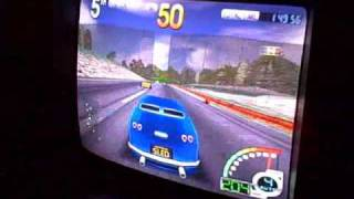 Alli Playing California Speed Arcade Game