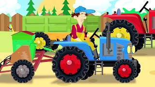 Blue and red Tractor - video stories for children | Bajki Traktorki