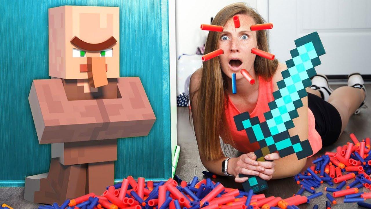 Nerf War: EPIC Villager Battle   Nerf meets Minecraft