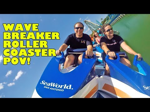Wave Breaker Roller Coaster Multi-Angle POV! Front Seat! SeaWorld San Antonio Texas New 2017
