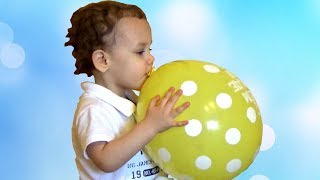 Tikhon First Time Playing with Colorful Balloons. Kids activities at home