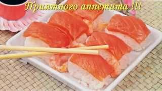 Новогодние закуски, рецепты блюда на Новый Год 2016 Праздничные суши из семги с креветками New sushi