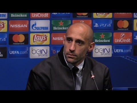 Pablo Zabaleta Full Pre-Match Press Conference - Barcelona v Manchester City - Champions League