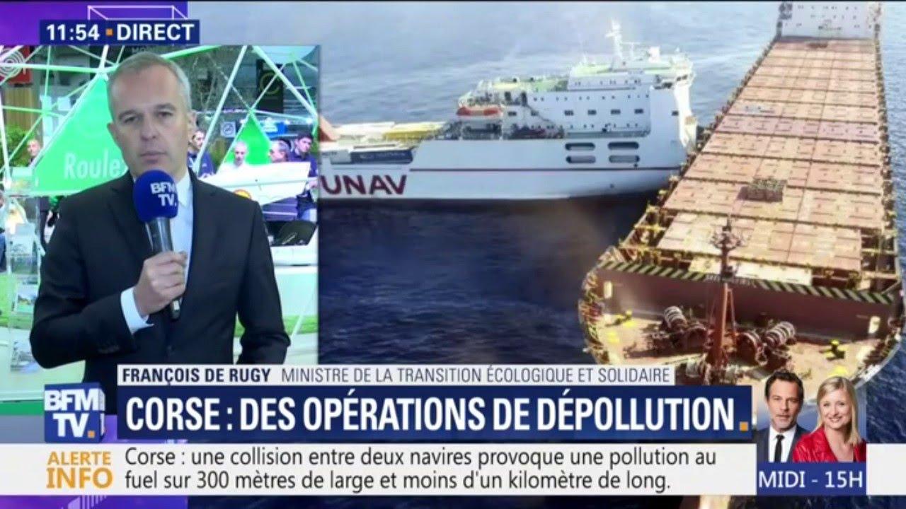 Collision près de la Corse: de Rugy assure que la fuite d'hydrocarbure