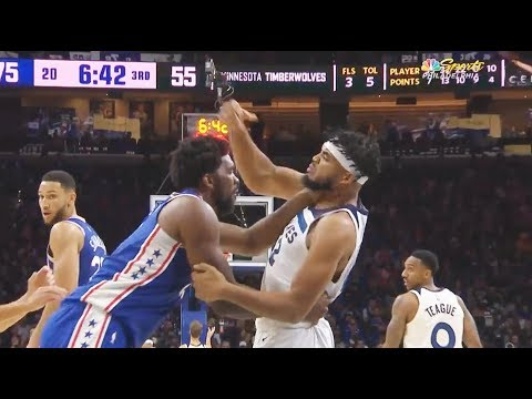 Joel Embiid & Karl-Anthony Towns Scuffle & Both Ejected After Fight! Timberwolves vs Sixers