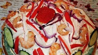 Мукбанг Суши торт Приготовили из того что осталось Ооочень вкусно получилось