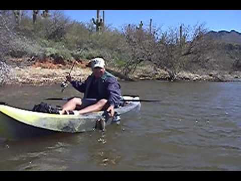 Kayak fishing for bass at bartlett lake az youtube for Fishing lakes in arizona