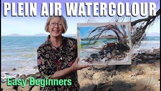 Plein Air Watercolor Painting at Swansea: easy beginners, big brush, creative style.