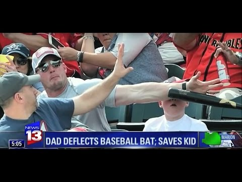 Hero Dad saves son's life from flying baseball bat - DAD MODE