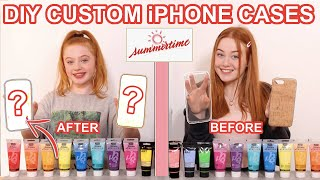 Twin Telepathy 3 Color Paint Custom Phone Cases *DIY Summer Art Makeover Challenge | Ruby and Raylee