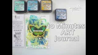 10 Minutes Art Journal with Oxides & Stencil #6 ♡ Maremi's Small Art ♡