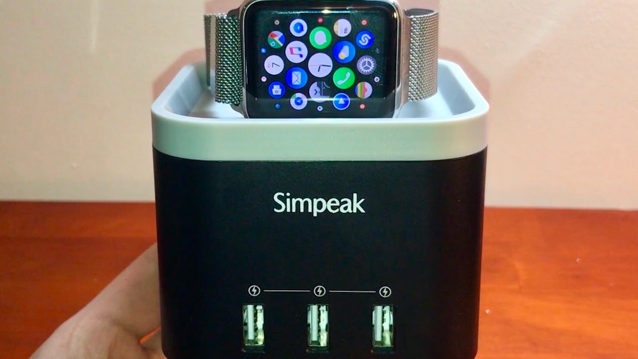 e427568297c2 BEST DOCK FOR APPLE WATCH, IPHONE, ANDROID, IPAD!! Review (4 Port USB  Charger Station)