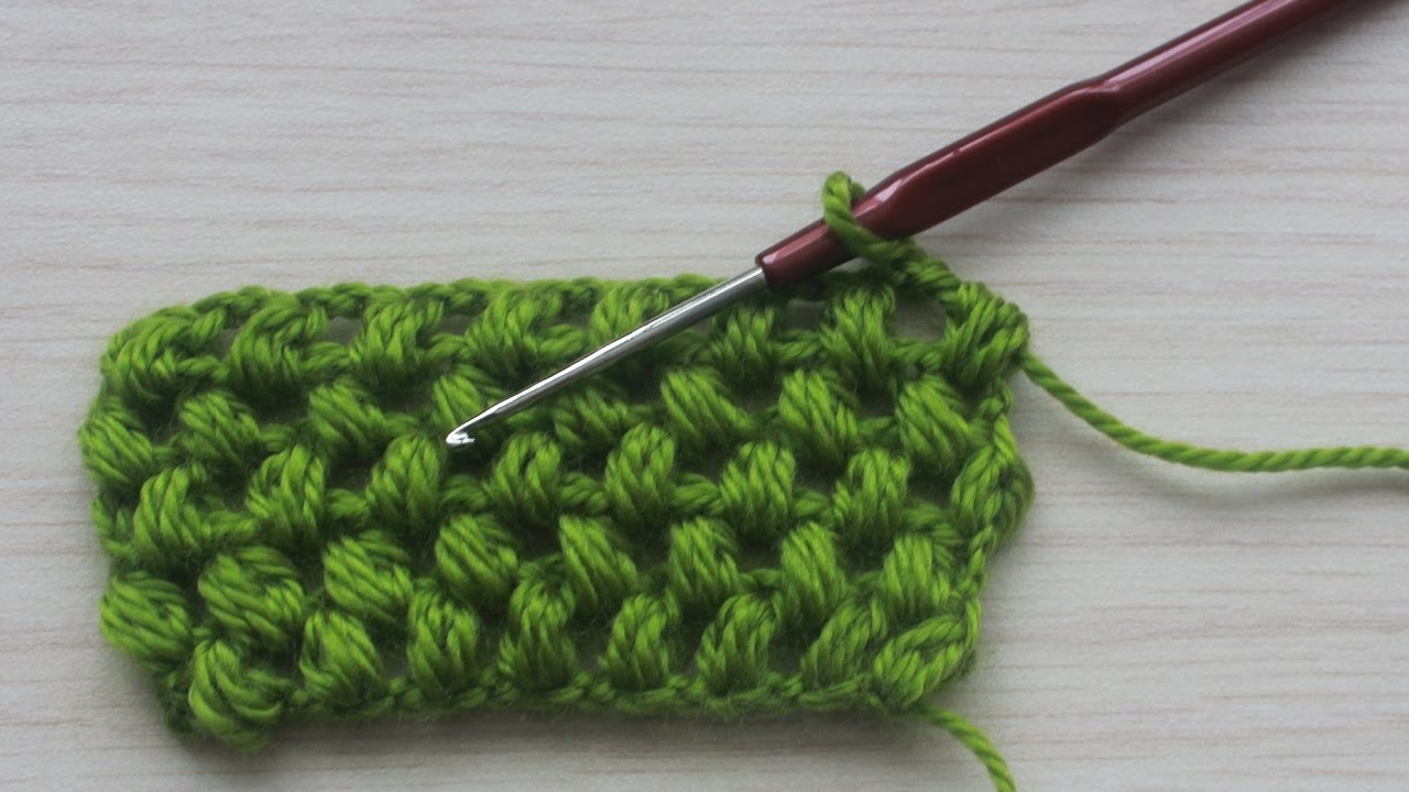 вязание крючком урок 7 пышные столбики Puff Stitch Youtube