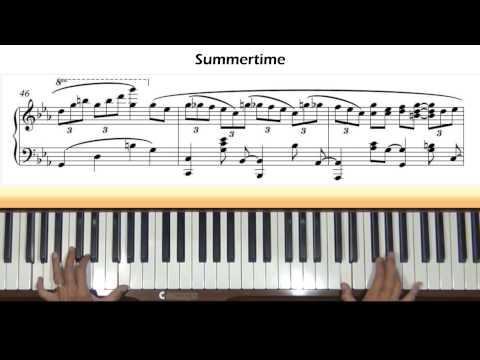 Gershwin / Ch'an Summertime Piano Tutorial (Jazz version)