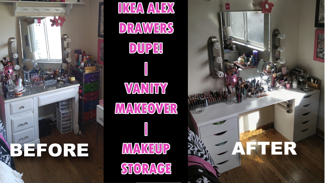 Vanity Makeover Ikea Alex Drawers Dupe Makeup Storage Youtube