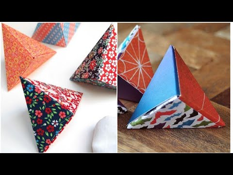 DIY Paper Gift Box | Pyramid Shape Paper Box | Triangle Box ( Easy & Simple )