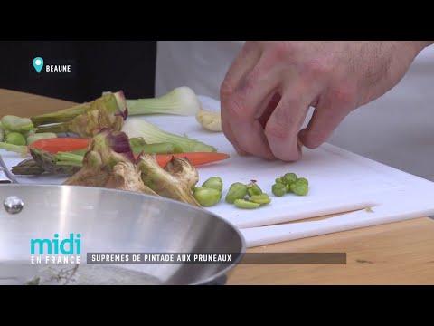 suprêmes-de-pintade-aux-pruneaux,-primeurs-de-légumes