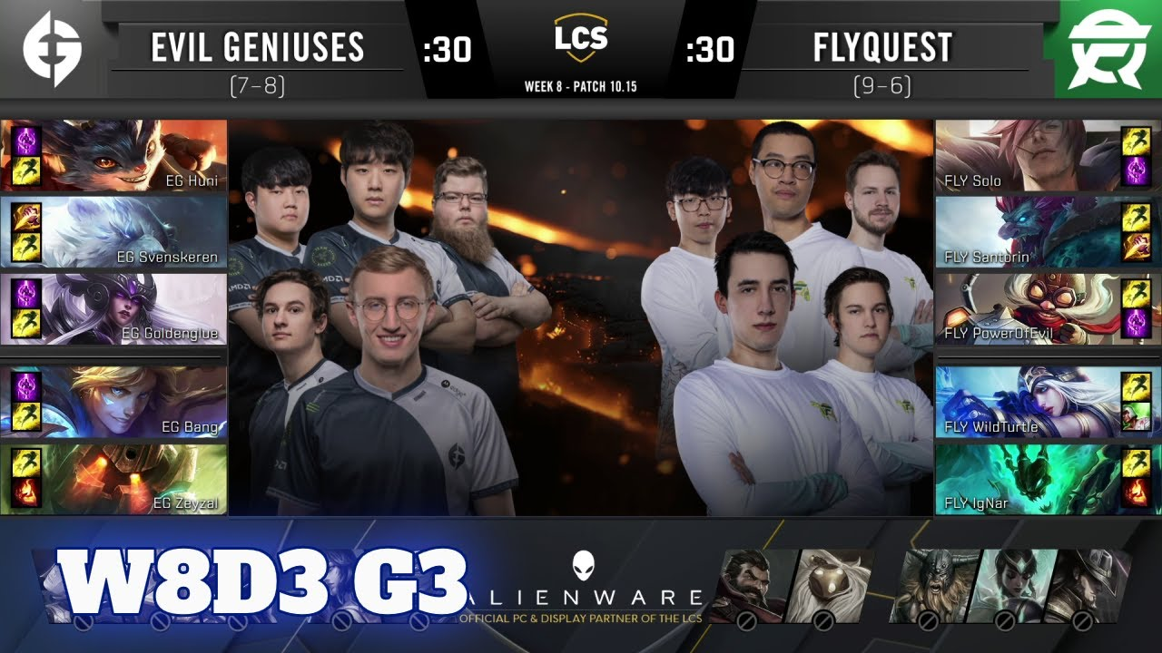 Evil Geniuses vs FlyQuest | Week 8 Day 3 S10 LCS Summer 2020 | EG vs FLY W8D3