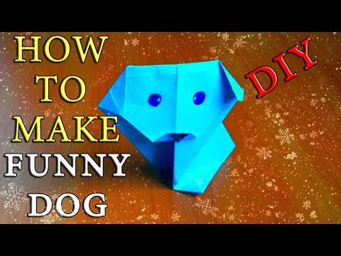 Easy Dog Out Of Paper. Origami Crafts New Year Symbol 2018 Year of Dog. Children crafts