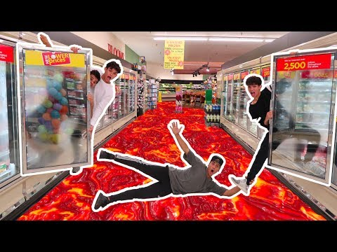 Thumbnail: FLOOR IS LAVA IN GROCERY STORE! (we got banned)