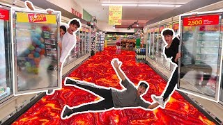 FLOOR IS LAVA IN GROCERY STORE! (we got banned) thumbnail
