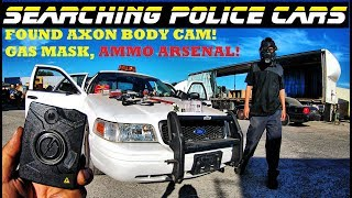 Searching Police Cars Found 12 gauge Ammo Arsenal! Axon Body Cam Gas mask! | Crown Rick Auto