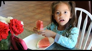 Kid eating watermelon | fruit snack | delicious | healthy snack for kids