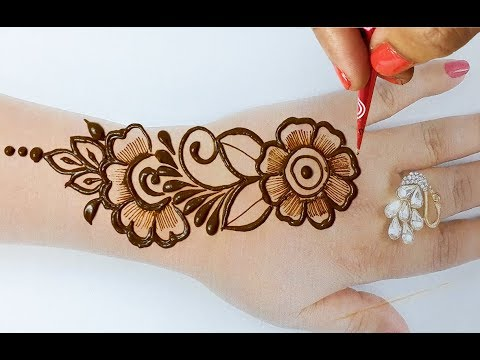 मेहँदी सीखने का सरल तरीका  - Stylish Arabic Mehndi Design for Hands - Beautiful Mehndi Design