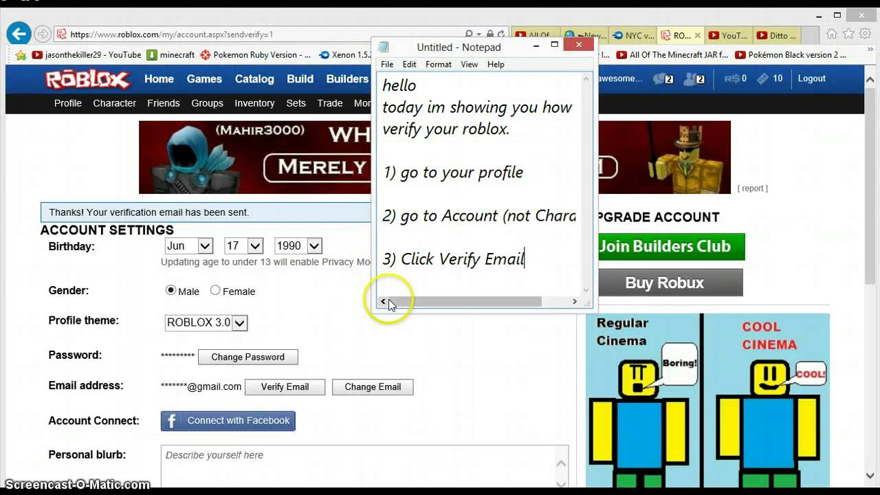 how to verify your roblox - YouTube