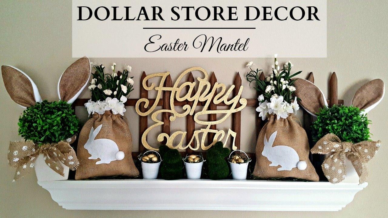 Dollar Store Home Decor Earth Tone Easter Mantel Bunnies